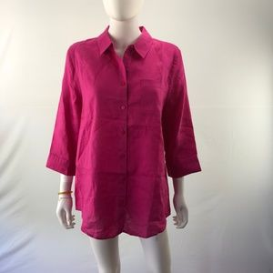 Long Blouse 0X Pink Button Down Shirt Loose Top